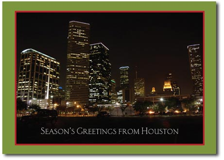 Houston at Night (25 cards & envelopes) - Boxed Holiday Cards