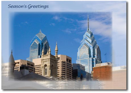 Philadelphia Skyline (25 cards & envelopes) Personalized Business Boxed Holiday Cards