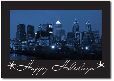 Philadelphia at Night (25 cards & envelopes) Personalized Business Boxed Holiday Cards