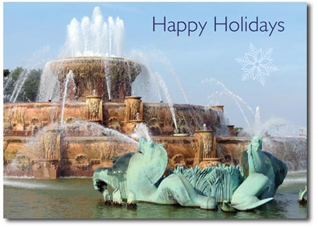 Buckingham Water Fountain (25 cards & envelopes) Personalized Chicago Boxed Holiday Cards