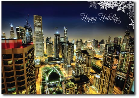Chicago at Night (25 cards & envelopes) Personalized Business Boxed Holiday Cards