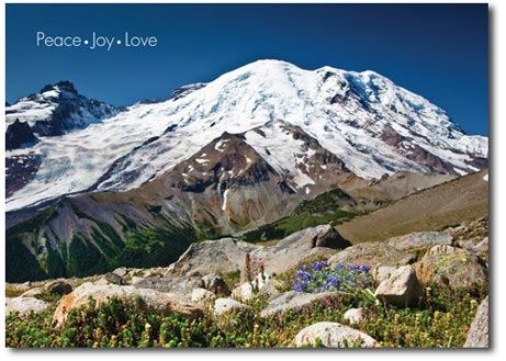 Mount Rainer (25 cards & envelopes) Personalized Seattle Boxed Holiday Cards