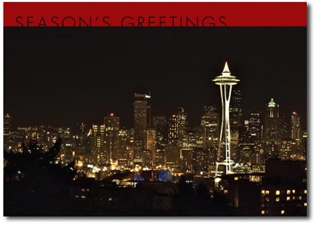 Seattle at Night (25 cards & envelopes) - Boxed Holiday Cards