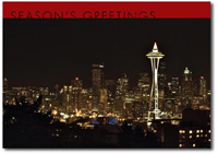 Seattle at Night (25 cards & envelopes) Personalized Business Boxed Holiday Cards