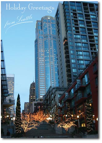 Christmas in Seattle (25 cards & envelopes) Personalized Business Boxed Christmas Cards