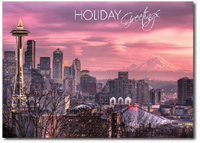 Sunset in Seattle (25 cards & envelopes) Personalized Business Boxed Holiday Cards