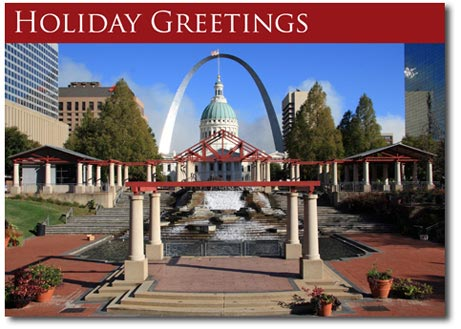 Arch in Saint Louis (25 cards & envelopes) Personalized St Louis Missouri Boxed Holiday Cards