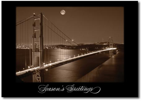 Golden Gate Bridge at Night (25 cards & envelopes) - Boxed Holiday Cards