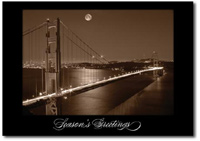 Golden Gate Bridge at Night (25 cards & envelopes) Personalized San Francisco Boxed Holiday Cards