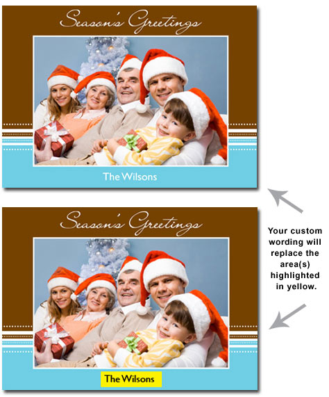 Brown & Blue Personalized Photo Card (25 cards & envelopes) Boxed Christmas Cards