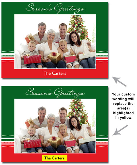 Green & Red Personalized Photo Card (25 cards & envelopes) - Boxed Christmas Cards