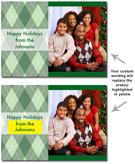 Personalized Green Argyle Photo Card (25 cards & envelopes) - Boxed Christmas Cards