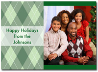 Personalized Green Argyle Photo Card (25 cards & envelopes)  Boxed Christmas Cards
