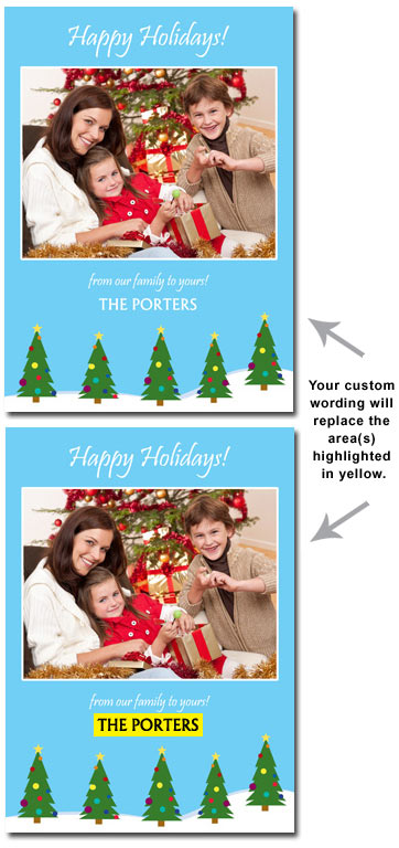 Personalized Christmas Tree Photo Card (25 cards & envelopes) - Boxed Christmas Cards