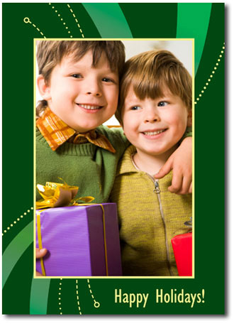 Vibrant Green & Yellow Photo Card (25 cards & envelopes) - Boxed Christmas Cards
