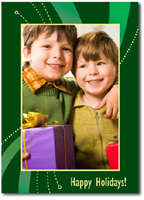 Vibrant Green & Yellow Photo Card (25 cards & envelopes)  Boxed Christmas Cards