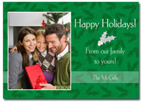 Personalized Green Holly Photo Card (25 cards & envelopes)  Boxed Christmas Cards