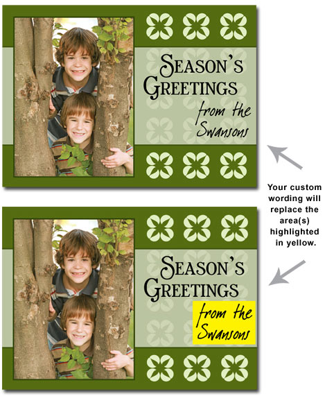 Personalized Green Photo Card (25 cards & envelopes) Boxed Christmas Cards