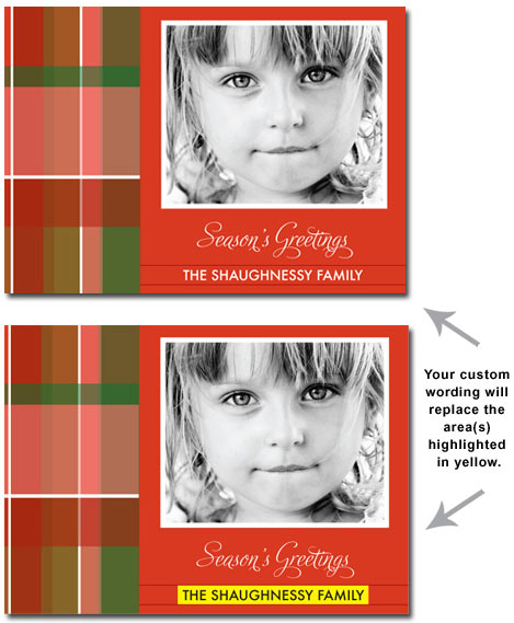 Personalized Christmas Plaid Photo Card (25 cards & envelopes) Boxed Christmas Cards