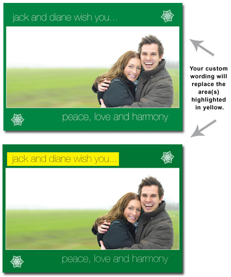 Customized Green Photo Card (25 cards & envelopes) - Boxed Christmas Cards