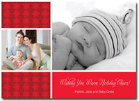 Personalized Photo Card Red Snowflakes (25 cards & envelopes)  Boxed Christmas Cards