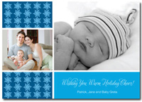 Personalized Photo Card Blue Snowflakes (25 cards & envelopes)