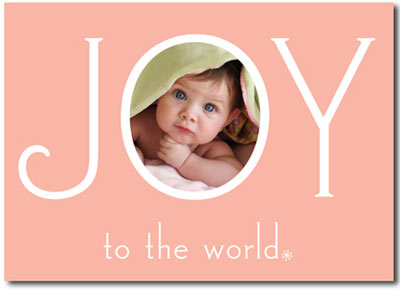 Joy to the World Photo Card in Pink (25 cards & envelopes) - Boxed Christmas Cards