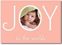 Joy to the World Photo Card in Pink (25 cards & envelopes)  Boxed Christmas Cards