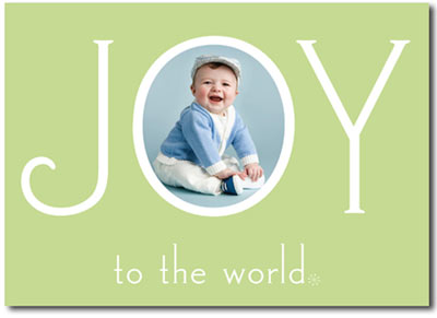 Joy to the World Photo Card in Mint (25 cards & envelopes) Boxed Christmas Cards