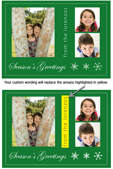 Customized Photo Card in Green (25 cards & envelopes) Boxed Christmas Cards