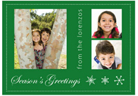 Customized Photo Card in Green (25 cards & envelopes) - Boxed Christmas Cards