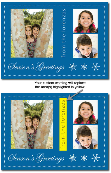 Customized Photo Card in Blue (25 cards & envelopes) Boxed Christmas Cards