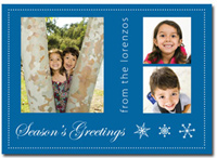 Customized Photo Card in Blue (25 cards & envelopes) - Boxed Christmas Cards