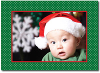 Green Dots & Red Frame Photo Card (25 cards & envelopes) - Boxed Christmas Cards