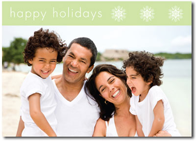 Happy Holidays Photo Card in Mint (25 cards & envelopes) - Boxed Christmas Cards