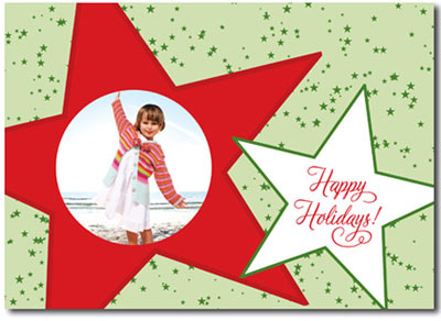 Red & Green Stars Photo Card (25 cards & envelopes) - Boxed Christmas Cards