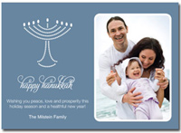 Hanukkah Photo Card in Gray (25 cards & envelopes) - Boxed Hanukkah Cards