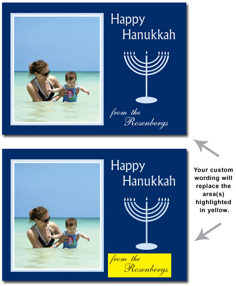 Happy Hanukkah Photo Card in Navy (25 cards & envelopes) Religious Boxed Hanukkah Cards
