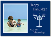 Happy Hanukkah Photo Card in Navy (25 cards & envelopes) - Boxed Hanukkah Cards