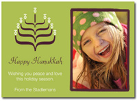 Personalized Hanukkah Photo Card (25 cards & envelopes) - Boxed Hanukkah Cards