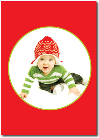 Red Photo Card with Lime Frame (25 cards & envelopes) - Boxed Christmas Cards