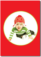 Red Photo Card with Lime Frame (25 cards & envelopes)  Boxed Christmas Cards