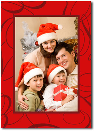 Swirling Red Photo Card (25 cards & envelopes) - Boxed Christmas Cards