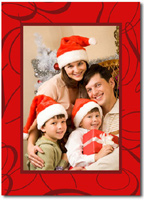 Swirling Red Photo Card (25 cards & envelopes)  Boxed Christmas Cards