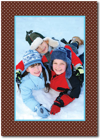 Aqua Frame & Brown Dots Photo Card (25 cards & envelopes) - Boxed Christmas Cards