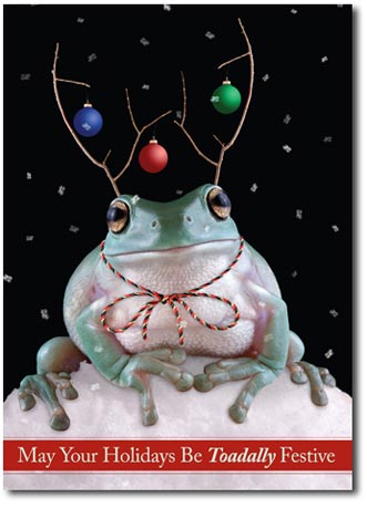 Toadally Festive (25 cards & envelopes) Personalized Funny Boxed Holiday Cards