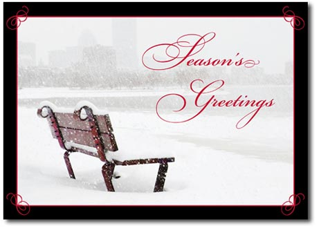 Snowy Bench (25 cards & envelopes) Personalized Boston Massachusetts Boxed Holiday Cards