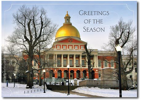 Stately Greetings (25 cards & envelopes) Personalized Boston Massachusetts Boxed Holiday Cards