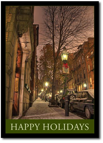 City Sidewalk (25 cards & envelopes) Personalized Boston Massachusetts Boxed Holiday Cards