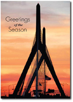 Zakim Bridge Sunset (25 cards & envelopes) Personalized Boston Massachusetts Boxed Holiday Cards